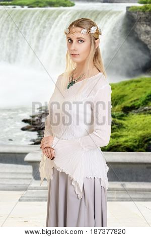 portrait of female high elf with waterfall