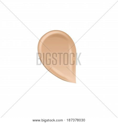 Tonal basis for makeup. A stain of a foundation cream isolated on a white background. Vector illustration.