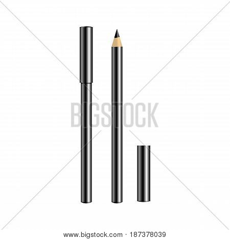 Black eyeliner for make-up isolated on white background. Open and closed eyeliner. Professional decorative cosmetics. Vector illustration.