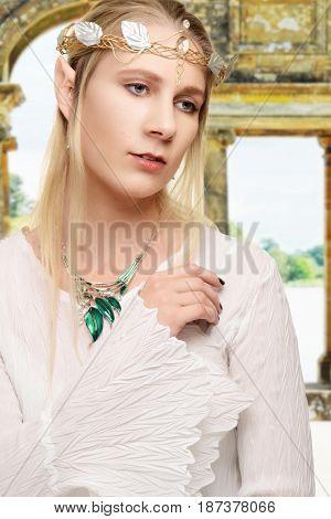 portrait female high elf wearing a crown