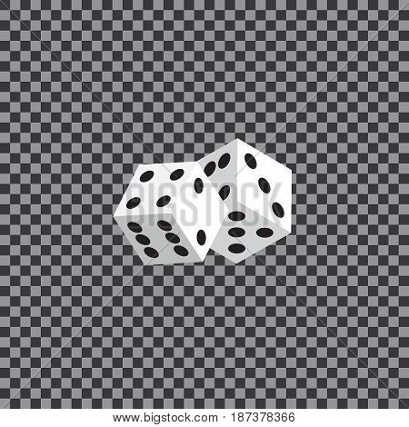 Two white dices on a transparent background. Vector illustration.