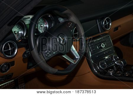 STUTTGART GERMANY - MARCH 04 2017: Interior of the sports car Mercedes-Benz SLS AMG Coupe 2012. Europe's greatest classic car exhibition