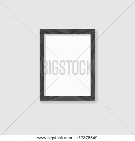 A realistic wooden rectangular frame for your texts or photos. Vector illustration.