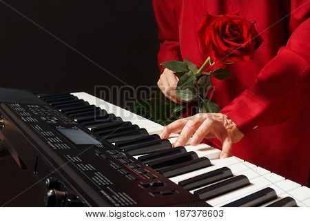 Pianist with red rose playing the electronic piano on a black background