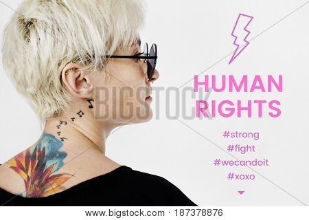 Woman standing network graphic overlay background