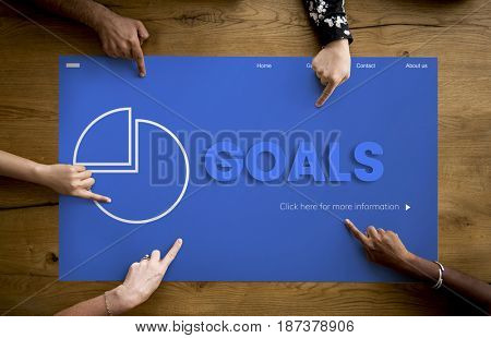 Hands working on network graphic overlay billboard on table