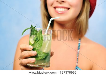 smiling girl with mojito