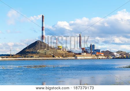 Industrial landscape in the Karabash, Chelyabinsk region, Russia