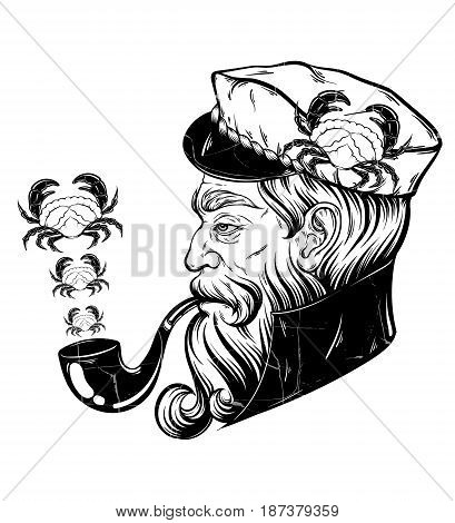 Vector hand drawn illustration of captain with pipe and crabs. Tattoo artwork in realistic style. Template for card poster banner print for t-shirt coloring books.