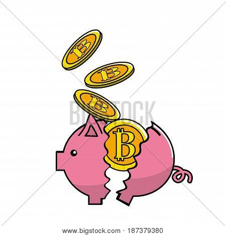 Pig broken with bitcoin currency inside, vector illustration