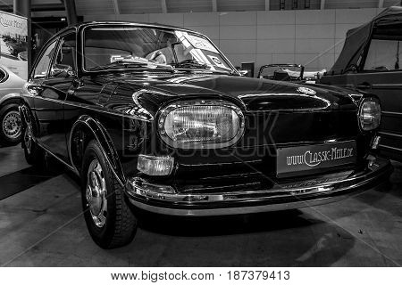 STUTTGART GERMANY - MARCH 04 2017: Large family car Volkswagen Type 4 (411L) 1969. Black and white. Europe's greatest classic car exhibition