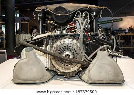 STUTTGART GERMANY - MARCH 04 2017: Engine of the Porsche 911 Targa 22 S 1971. Europe's greatest classic car exhibition