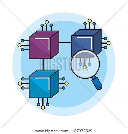 squares connections with circuits electronic and magnifying glass, vector illustration
