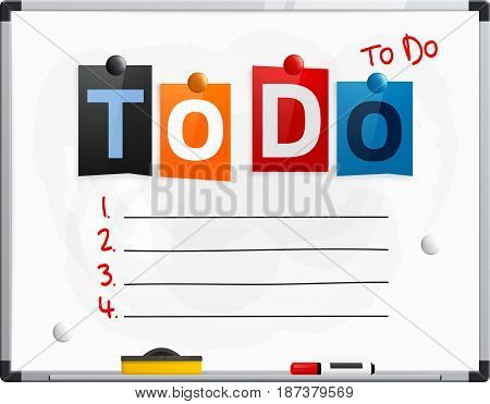 To do text made from newspaper letters attached to a whiteboard or noticeboard with magnets. Four points for your text.