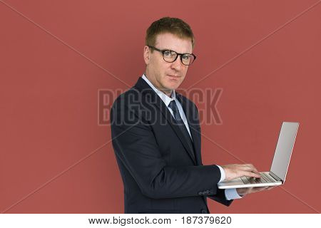 Business Man Concentrating Laptop