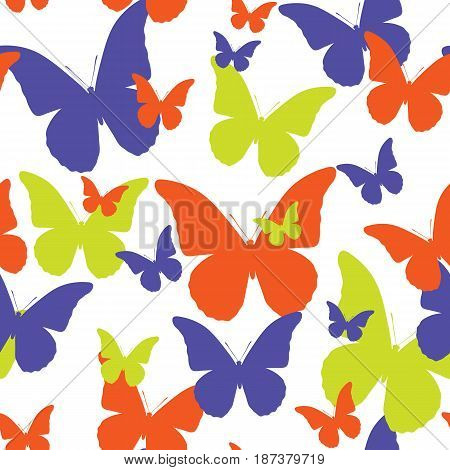 Seamless pattern of butterflies of different color. Vector picture of moths.