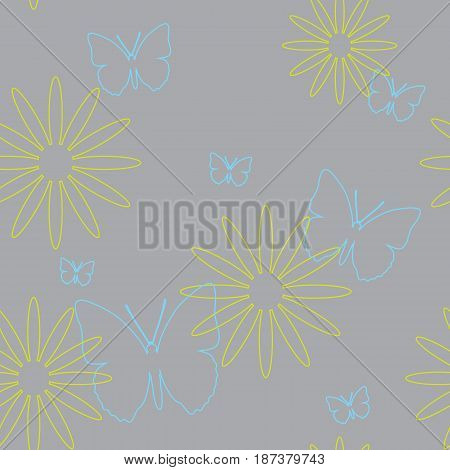 Seamless pattern of butterflies and flowers. A vector picture of moths on a gray background.