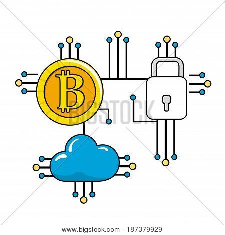 bitcoin, padlock and cloud data with circuits connections, vector illustration