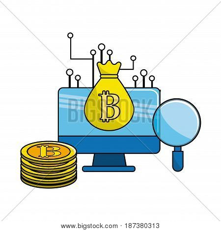 computer with digital circuits elements to bitcoin currency, vector illustration
