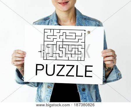 Woman hold a puzzle concept card