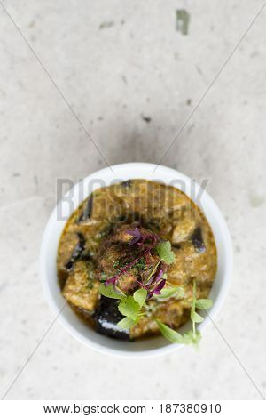 Overhead Of A Bowl Of Aubergine Soup With Copy Space