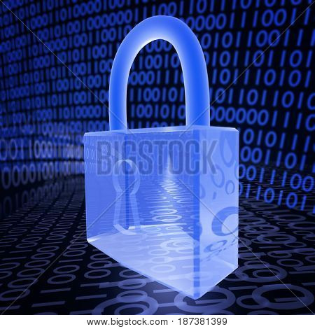 A 3D illustration depicting a padlock on a binary background related to internet security and virus protection.