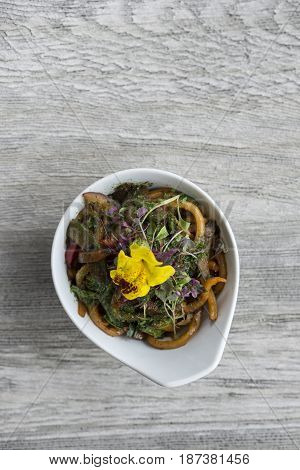 Overhead Of Bowl Of Vegetable Stir-fried Noodles With Copy Space