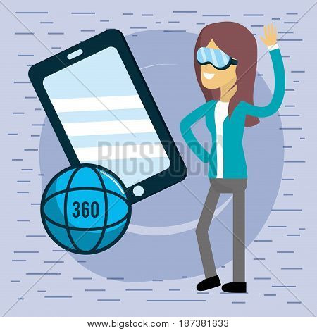woman with smartphone and global virtual reality, vector illustration