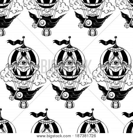 Vector pattern with hand drawn illustration of air balloon with clouds. Tattoo artwork . Template for card poster banner print for t-shirt.