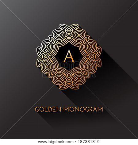 Golden elegant monogram with letter A. Template design for monogram label logo emblem. Vector illustration.