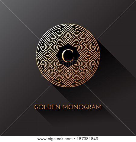 Golden elegant monogram with letter C. Template design for monogram label logo emblem. Vector illustration.