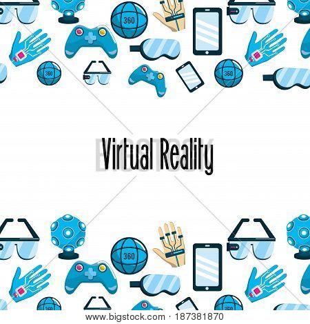 virtual reality elements technology background, vector illustration