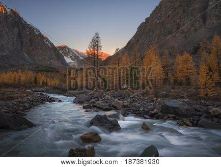 Mountain river on the background of autumn landscape, Altai region, Siberia, Russia