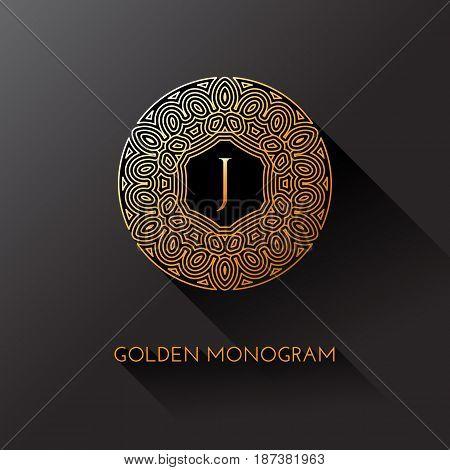 Golden elegant monogram with letter J. Template design for monogram label logo emblem. Vector illustration.