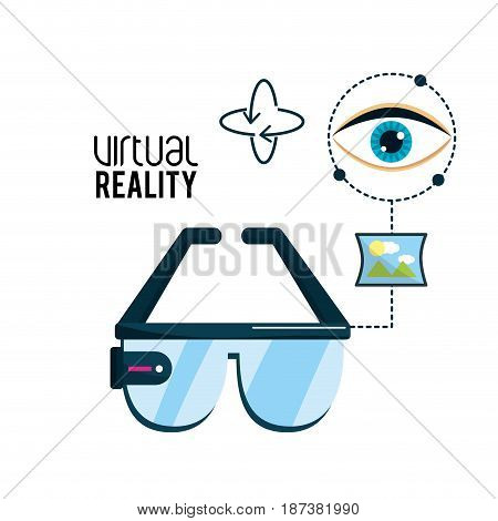 virtual reality glasses and visual experience, vector illustration