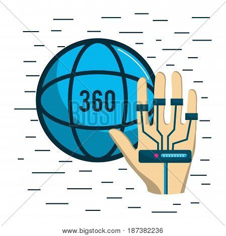 global vitual reality with hand element, vector illustration