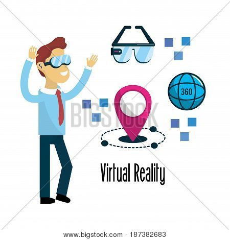 man with virtual reality experience elements, vector illustration