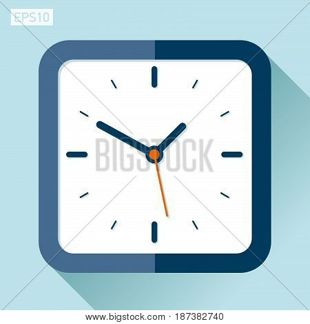 Square clock icon in flat style, timer on color background. Vector design element