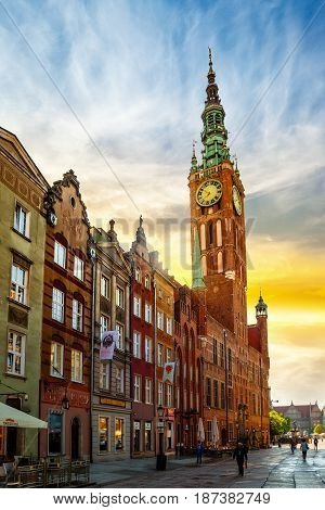 GDANSK POLAND - MAY 19 2017: Street scene with some people on Long Street in Old Town in Gdansk. Old Town in Gdansk is a tourist attraction for visitors.