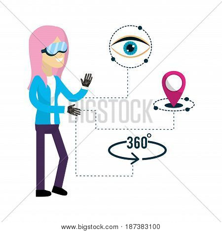 woman inside virtual reality and futuristic game, vector illustration