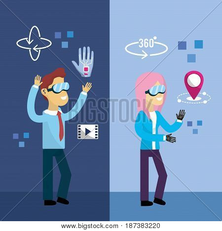 woman and man inside virtual reality and futuristic game, vector illustration