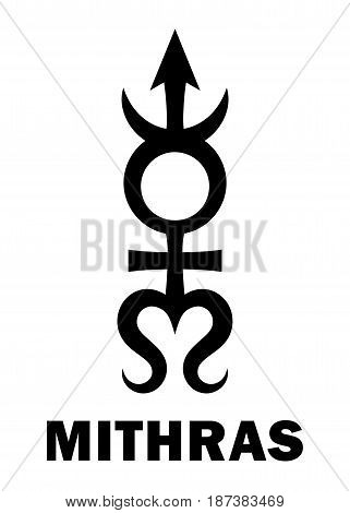 Astrology Alphabet: MITHRAS, massive trans-neptunian planetoid. Hieroglyphics character sign (single symbol).