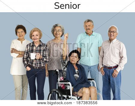 Group of Diverse Senior Adult People Set Studio Isolated
