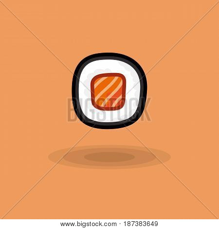 Vector icon japanese fresh roll with salmon isolated. Illustration traditional japanese food. Image japanese cuisine roll with salmon on colored background