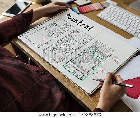 Website development layout sketch drawing