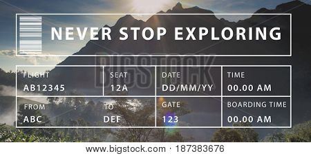 Never Stop Exploring Travel Word Graphic