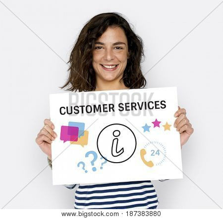 Illustration of contact us online customer services on placard