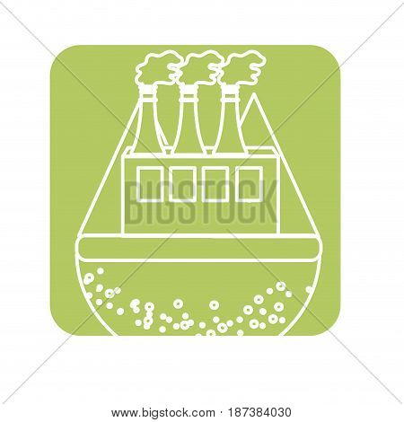 label pollution factory contaminating the environment of planet, vector illustration