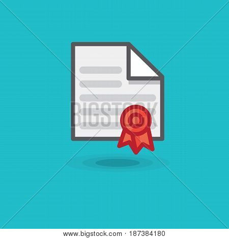 Vector icon certificate and red seal isolated. Illustration contract or notarized paper with red stamp on blue background