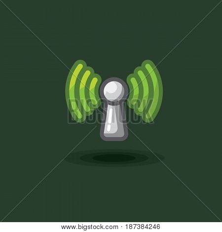 Vector icon sign antenna wi fi isolated. Illustration free wi fi, green reception signal. Wi fi network icon
